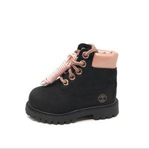 Timberland baby girl premium boots black/pink 4